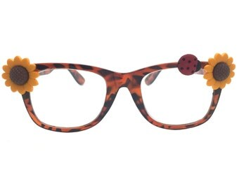 Women's 2.0 Strength Tortoise Reading Glasses with Hand-Applied Sunflowers and a Ladybug