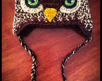 Brown Hoot Owl Costume Crochet Hat / Green Eyes