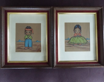 Gerda Christoffersen set of 2 Silkscreen prints Ododees little people Apache Navajo Tewa Enterprise copyright papoose art