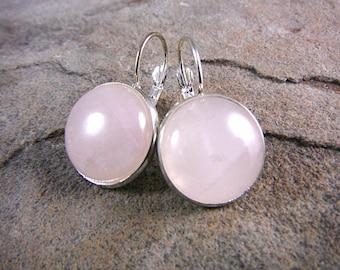 Pink Rose Quartz Earrings, Pink Earrings, Pink Stone Earrings, Rose Quartz Jewelry, Pink Gemstone Earrings, Silver Leverback Earrings