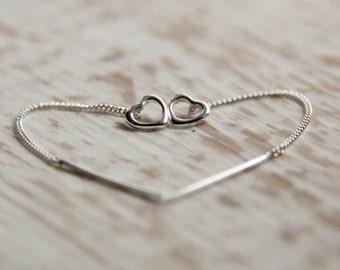 Sterling Silver Threader Heart Earrings, Gift for Her, Girlfriend, Best Friend, Wife, Daughter