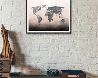Watercolor World Map Print - Watercolor Map - Ombre Watercolor - Travel World Map - Black Watercolor Map - Travel Decor - Wall Art