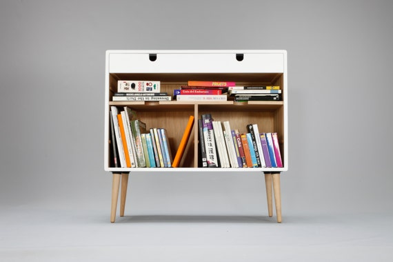 Modern White Bookcase Credenza with Drawer