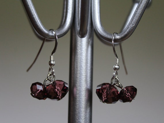 Dark Purple Crystal Drop Earrings, Dangle Earrings, Silver Cha-Cha Earrings, Eggplant Color Earrings