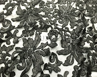 Milan Lace Fabric in Black - Luxurious Lace Fabric w/ Sequins Embroidery Throughout - Great For Weddings, Bridal Parties, and Special Events
