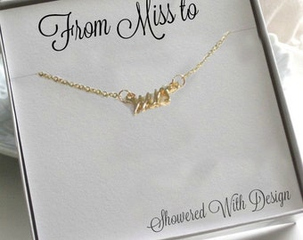 Mrs. Necklace and Earrings Set, Gold, Ready to Ship