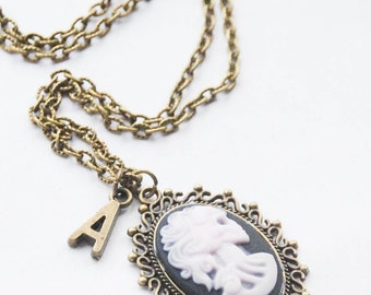 Skull Cameo Necklace Monogram Cameo Necklace Personalized Skeleton Necklace Day of the Dead Necklace Gothic Necklace Initial Necklace