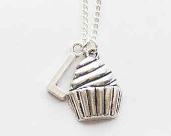Personalized Baker's Gift, Cupcake Necklace, Silver Cupcake Initial Necklace, Baker's Necklace with Initial, Personalized Foodie Gift, Chef