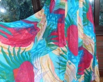 Plus size colorful cotton skirt pleated waistband full gathered skirt long length uk size20 and usa size16