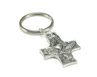 On Sale Holy Eucharist Key Chain Silver Metal Key Ring