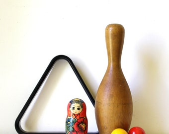 Large wood bowling pin/ vintage wooden toys/ eclectic home decor/ kids room decor/ unique vintage gift