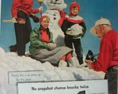 Kodak Camera Ad ~ Family Winter Snowman ~ Original Magazine Advertising 1950's