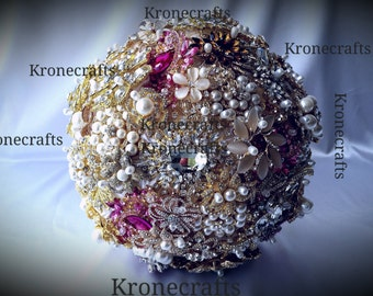 rhinestone and Pearl brooch bouquet, pink rose gold ivory champagne white  bouquet