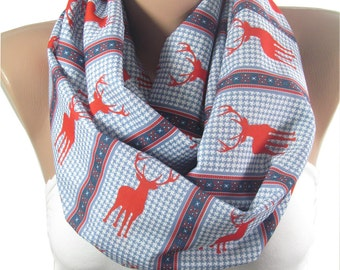 Nordic Scarf Deer Scarf Infinity Scarf Houndstooth Circle Scarf Holiday Winter Scarf Women Fashion Accessories Christmas Gift For Her M