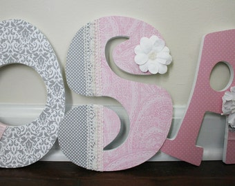 Deluxe Wooden Nursery Letters - Baby Girl Nursery Decor - Wall Letters, grey, pink - Lace and Pearls - Baby Shower Gift - Elegant letters