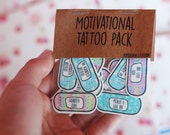 Valentines Gift ~ Motivational Band-Aid Tattoos ~ Cute Pastel Edition ~ Temporary Tattoo Pack ~ Self Care ~ Self Love ~ Goals Habits, Kawaii