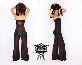Bodysuit convertible. Pixie onesie. Hoop clothing. Yoga clothing. Abstractika Crafts. Sacred geometry. Yoga pants. Wide leg bodysuit