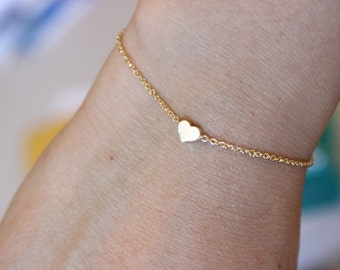 Also available in silver or rose gold, tiny silver heart bracelet, dainty delicate bracelet, minimalist, thin bracelet, sister gift