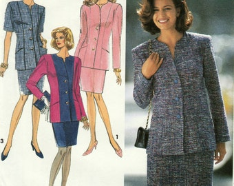 Simplicity 8055, Misses or Petite Slim Skirt with Raised Waistline and Button Front Lined Jacket, Multi-Size 8, 10, 12, 14, Uncut Vintage