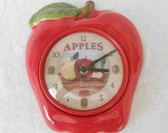 Red Apple Ceramic Kitchen Wall Clock