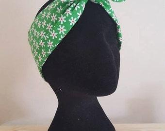 Green daisy print ditsy floral landgirl headscarf hair wrap