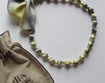 Silk Wrapped Gunmetal Glass Pearls Necklace Bracelet
