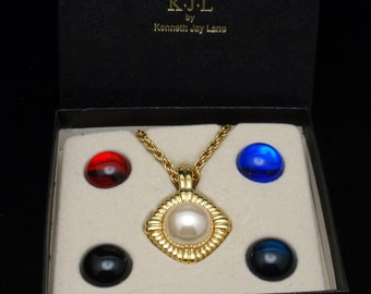 KJL Pendant Necklace with 5 Interchangeable Colored Cabs