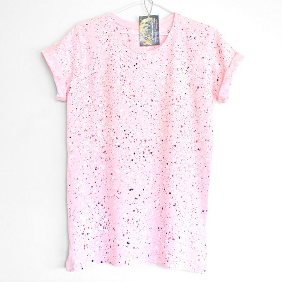 CHERRY BLOSSOM t-shirt. 100% cotton t-shirt for women. Hand painted. Splash tee. Speckle t shirt. Pink.