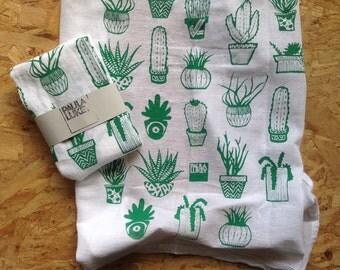 Succulents Silkscreened Tea Towel Cotton Flour Sack - Art Kitchen - 28x29 inches