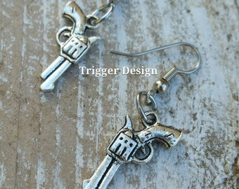 Pistol Dangle Earrings