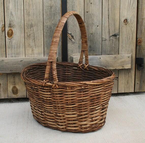 Woven Gathering Basket : Large vintage woven basket harvest gathering