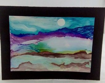 Alcohol ink picture,alcohol ink art landscape,original,alcohol ink painting,yupo
