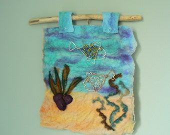 Felted picture, seascape, wire fish , wet felt, needle felt, original