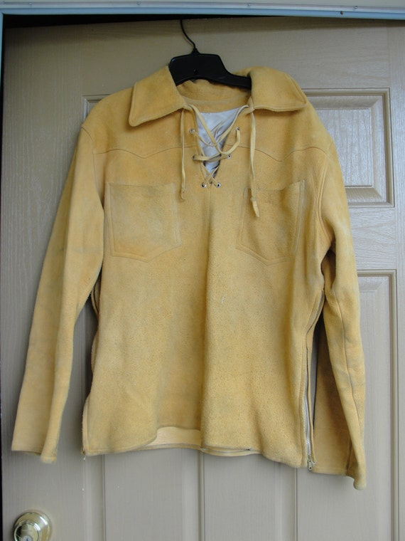 Mens Medium Large Lace Up Collared Suede Leather Long Sleeve