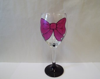Personalised Hand Painted Large Bow Design Wine Glass by Luci Lu Designs