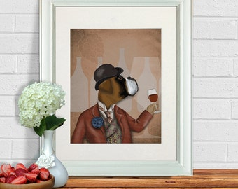 Boxer Dog Art Print - Wine Snob - Boxer Dog print Gift for wine lover gift wine art Boxer Dog illustration birthday gift for mom mothers day