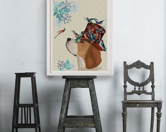 Beagle Art Print - Beagle Milliners Dog  Beagle decor beagle print beagle wall art wall decor gift for girlfriend uk seller beagle painting