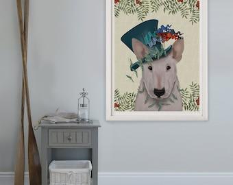 Bull Terrier Art Print - Milliners Dog - Bull Terrier painting Bull Terrier decor dog lover gift girlfriend gift wife unique valentines gift