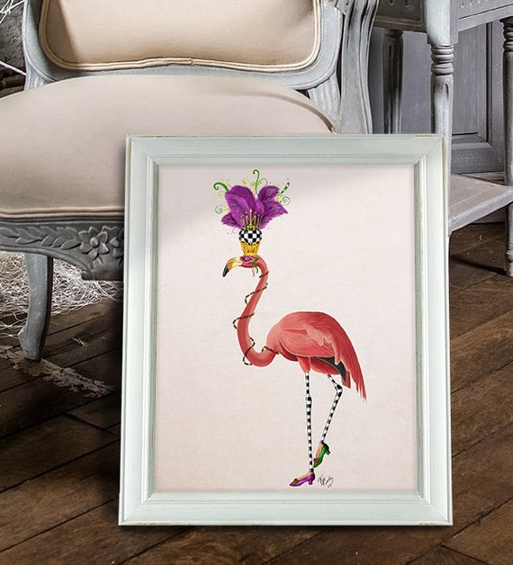 Mardi Gras Flamingo Full Whimsical Art Home Decor Wall Decor