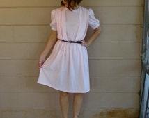 Vintage Sheer Pink Dress / Sash / 1980's Medium