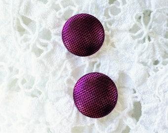 Magenta and Black Shimmer Stud Earrings