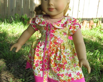 18 Inch Doll Dresses, Pink and Orange Floral Tulip Dress, made to fit 18 inch dolls such as American Girl dolls