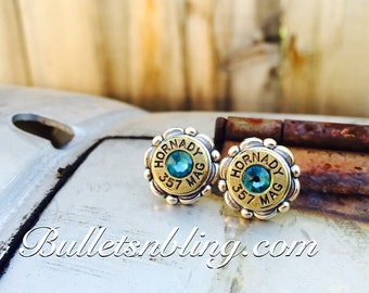 Silver Cameo Bullet Casing Studs 9mm