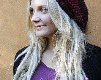Slouchy beanie hat in burgundy M (MD-1009)