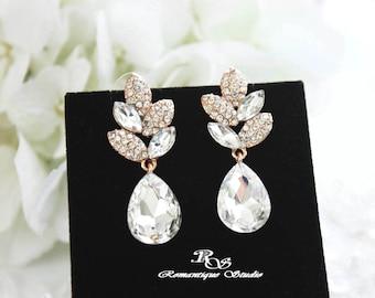 GOLD crystal drop earrings, Bridal earrings, Crystal wedding earrings, rhinestone earrings, leaf earrings, wedding jewelry - 1265G