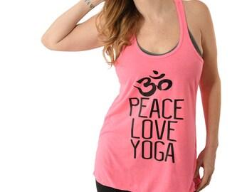 Peace Love Yoga Ladies/Womens racerback Tanktop