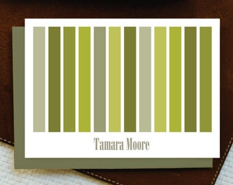 Personalized Stationery - Personalized Stationary - STRIPES IN SHADES Folded Note Cards - Custom Stationery Set