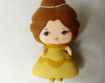 Felt Belle Doll, Beauty & the Beast Fairy Tale Doll, Wool  Felt Art Doll, Handmade Collectible Doll, Gift for Kids *Ready to Ship