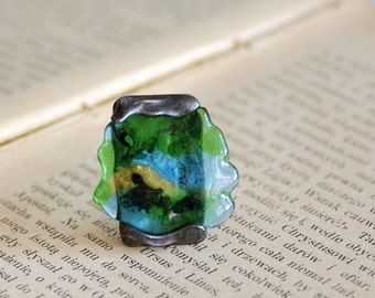 ring of colored glass, fused glass ring, adjustable ring, handmade