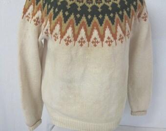 Nordic Ski Sweater 1960's Ski Sweater Saga Knit Norwegian Sweater Snowflake Sweater Medium